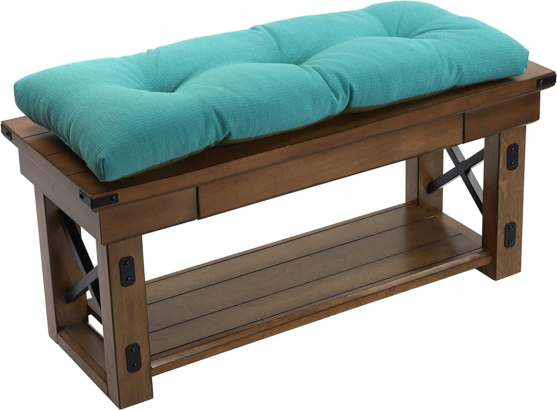 "Klear Vu The Gripper Non-Slip Tufted Omega Universal Bench Cushion, 36"", Teal"