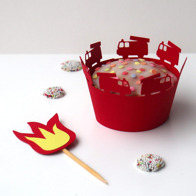 Muffin Wrapper Feuerwehr Geburtstag Kindergeburtstag Muffin Topper Muffin Deko Set Feuerwehr Party