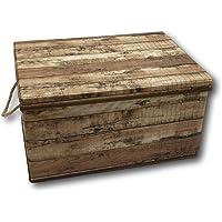 Opbergdoos, opbergdoos, kist, opvouwbaar, met deksel en draagkoord, van stof in hout, retro-look (medium, bruin)
