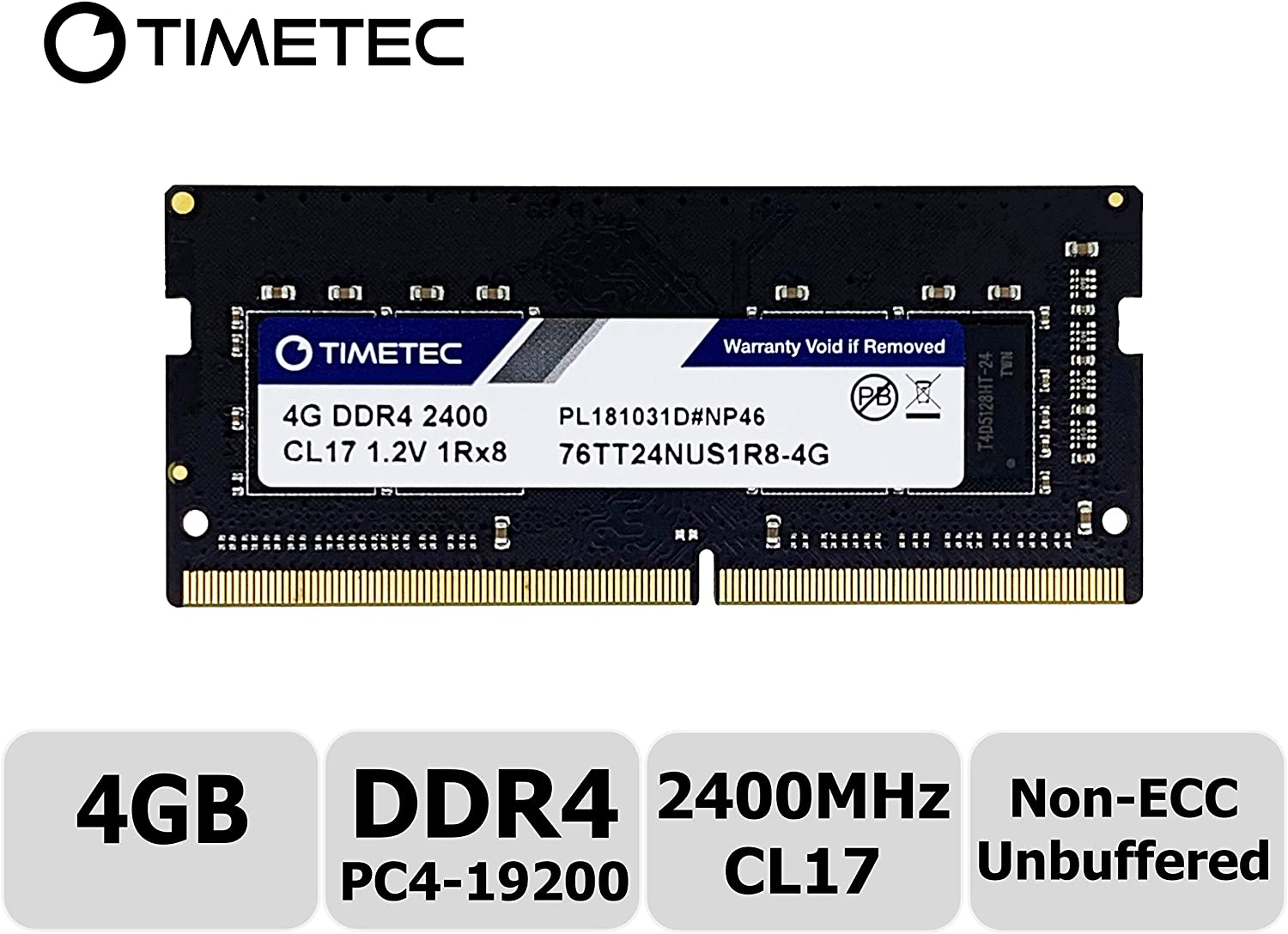 Timetec Hynix IC 4GB DDR4 2400MHz PC4-19200 Unbuffered Non-ECC 1.2V CL17 1Rx8 Single Rank 260 Pin SODIMM Laptop Notebook Computer Memory RAM Module Upgrade (4GB)