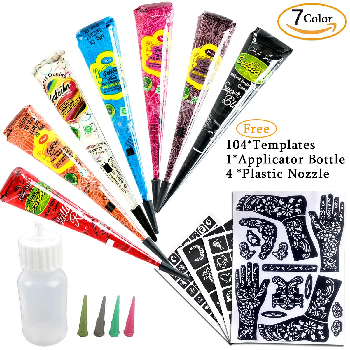 7Color Temporary Tattoo India Henna Kit Tattoo Paste Cone Body Art Painting Drawing with Free 104 pcs Tattoo Templates, 1 x Applicator Bottle and 4 x Plastic Nozzle by YLIANG by YLIANG