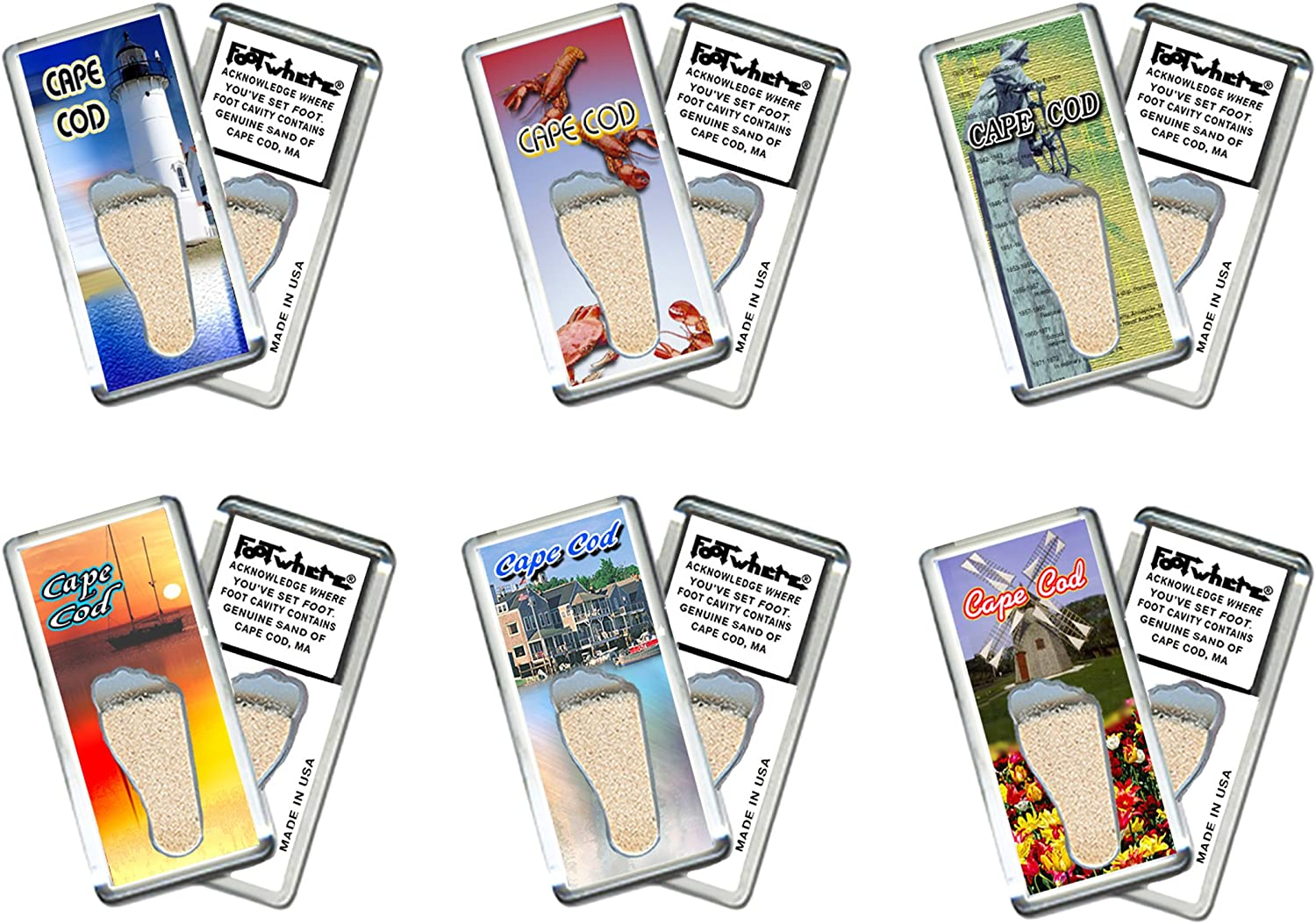 "Cape Cod""FootWhere"" Souvenir Fridge Magnets. 6 Piece Set. Made in USA"