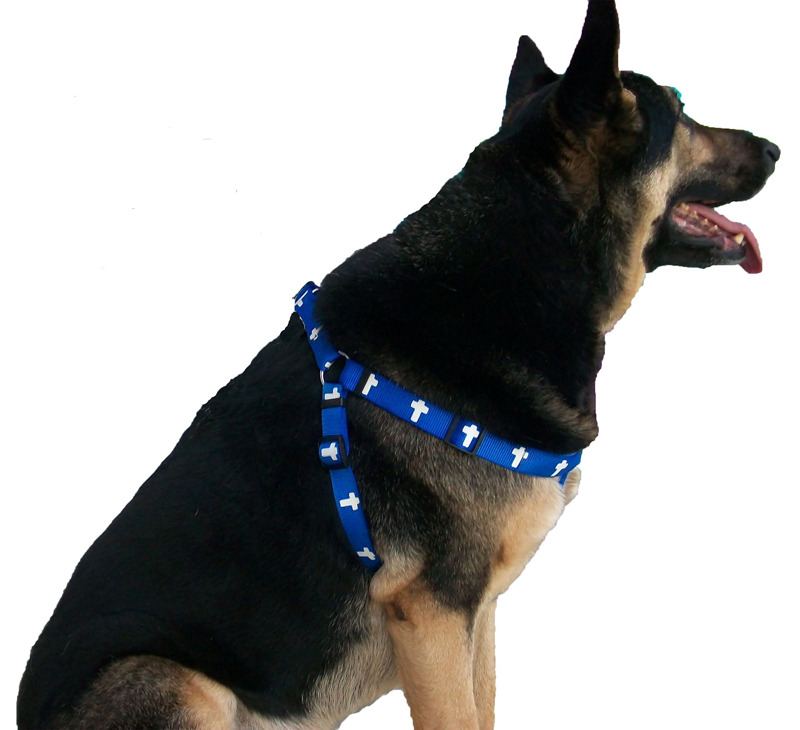 Pets 4 Christ Padded Cross Harness (Large, Blue)