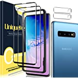 [2+2 Pack] UniqueMe Full Coverage Screen Protector Compatible for Samsung Galaxy S10 and Tempered Glass Camera Lens Protector