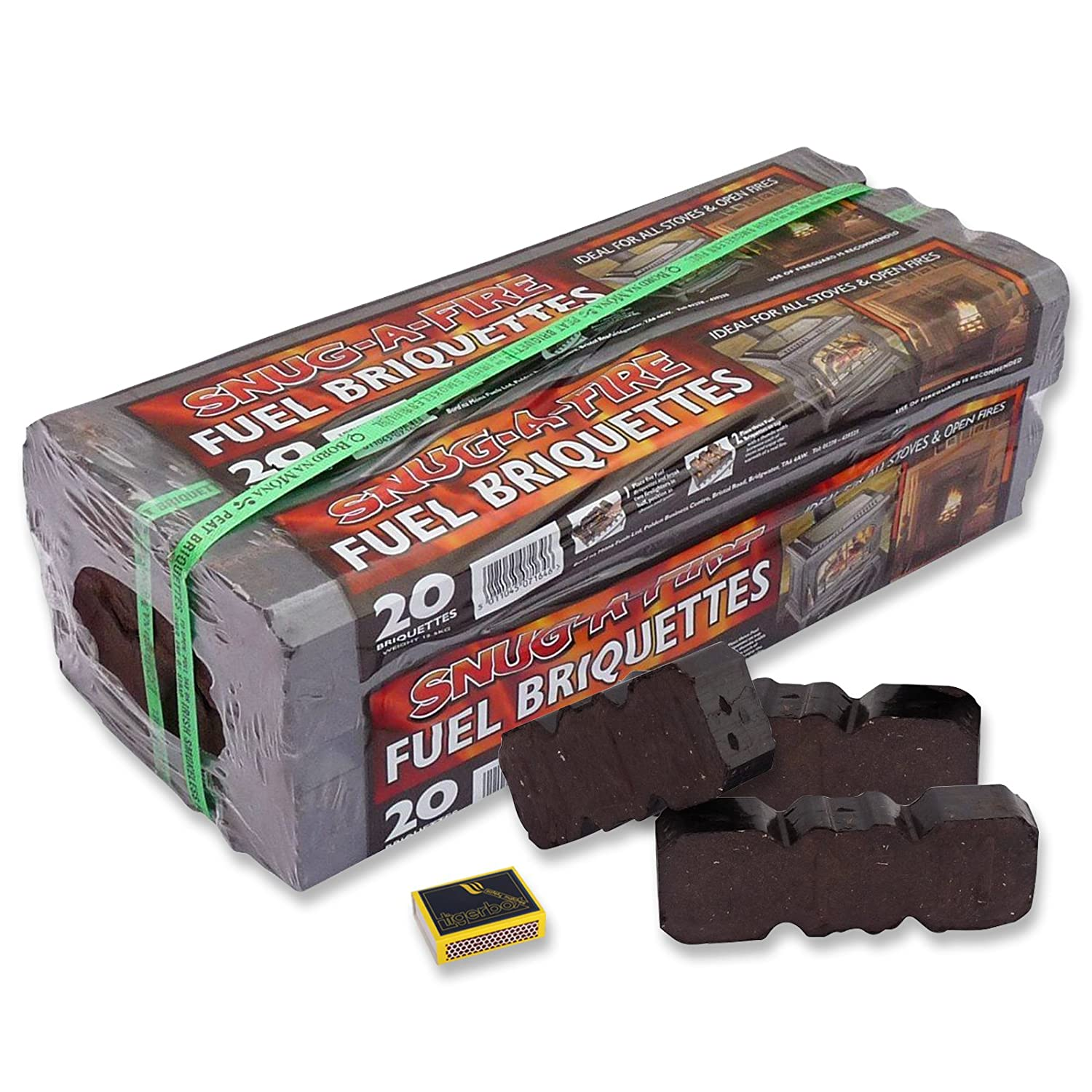 2 x Snug-A-Fire Irish Peat Briquettes 12.5KG Wrapped Bale & Tigerbox Safety Matches. 100% Natural Fuel.