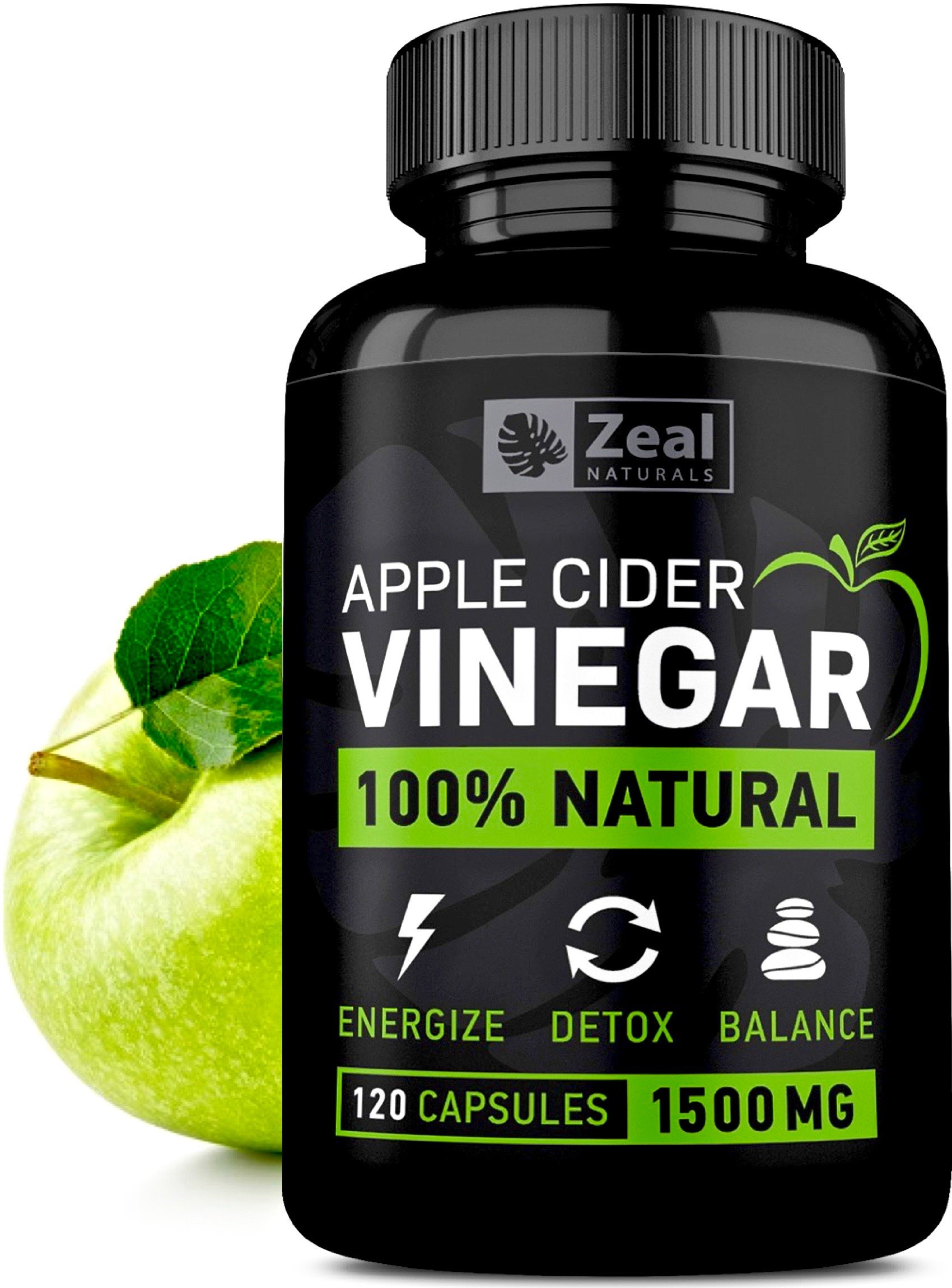 100% Natural Raw Apple Cider Vinegar Pills (1500 mg | 120 Capsules) Pure Apple Cider Vinegar with Cayenne Pepper for Fast Weight Loss Cleanse, Appetite Suppressant, & Bloating Relief by ZEAL NATURALS