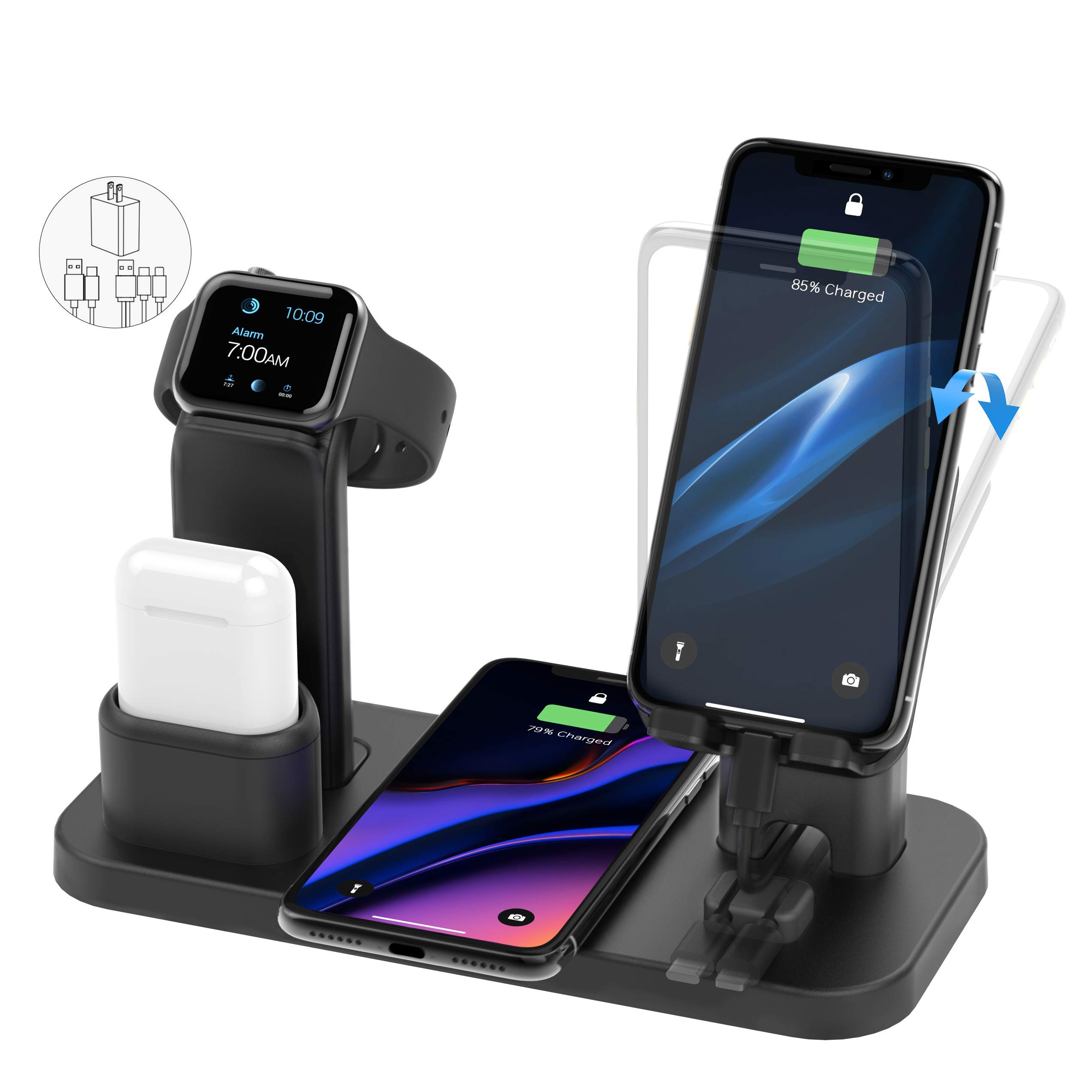 Wireless Charger Stand, CEREECOO 4 in 1 Wireless Charging Station Dock Compatible with iPhone 11/11pro/Xr/Xs/X/Max/8/8Plus/7/6/6s/5 Apple Watch5/4/3 AirPods(Only iWatch Charger Needed) by CEREECOO
