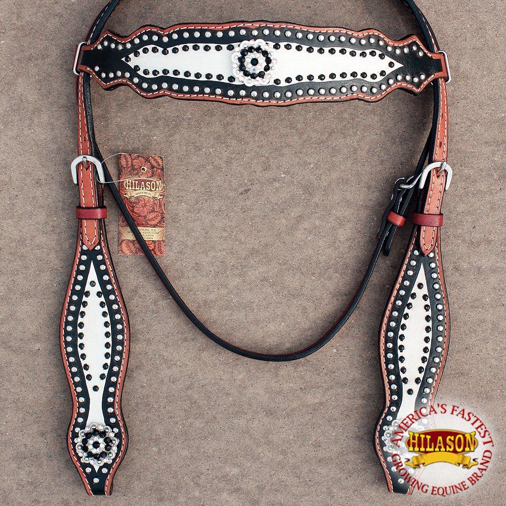 Hilason WesternレザーHorse Bridle HeadstallブラックホワイトBlingコンチョ   B01MXXXY5O