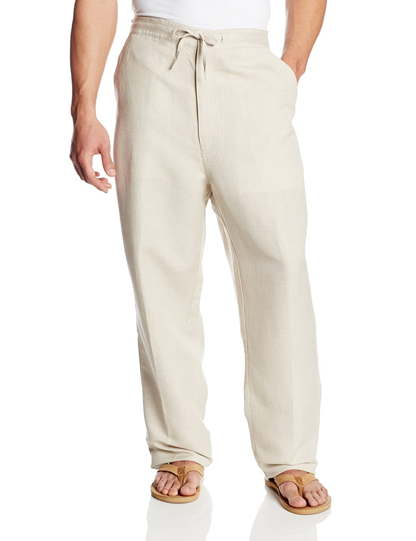 Cubavera Men's Big and Tall Linen-Blend Flat-Front Drawstring Pant Cubavera Men's Sportswear C8FB147B