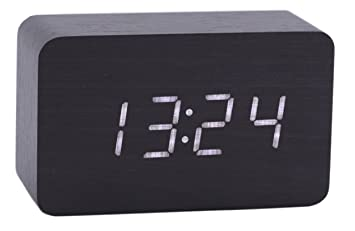 Konigswerk Reloj digital de madera con alarma e iluminación LED, muestra calendario y temperatura, para despacho, serie moderna, rectangular y pequeño ...
