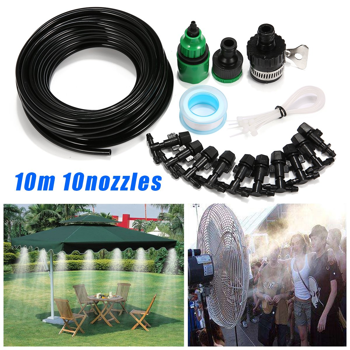 heiinsog 10m Outdoor Misting Cooling System, Patio Fan Misting kit, with User Manual.