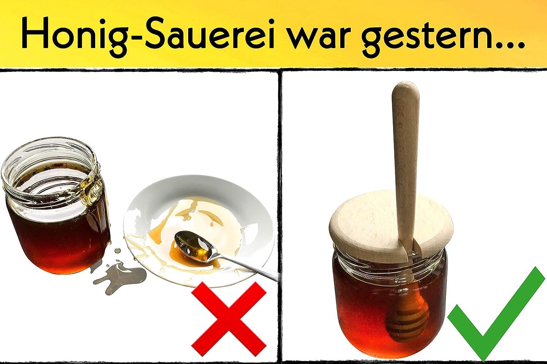 Dosieren von Honig /& Sirup ohne Kleckern Made in EU Honigspirale aus heimischem Kirsch-Holz geschmacksneutraler Honig-L/öffel HOFMEISTER Honigheber aus Holz 15 cm