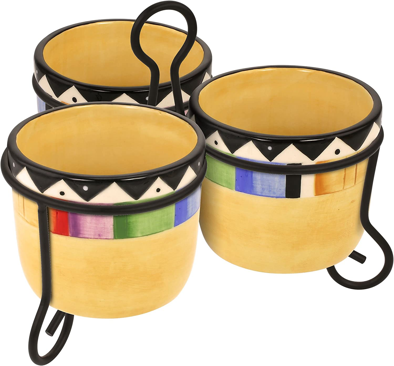 KOVOT Fiesta Style Dip Bowls With Metal Stand   Cinco De Mayo Decor