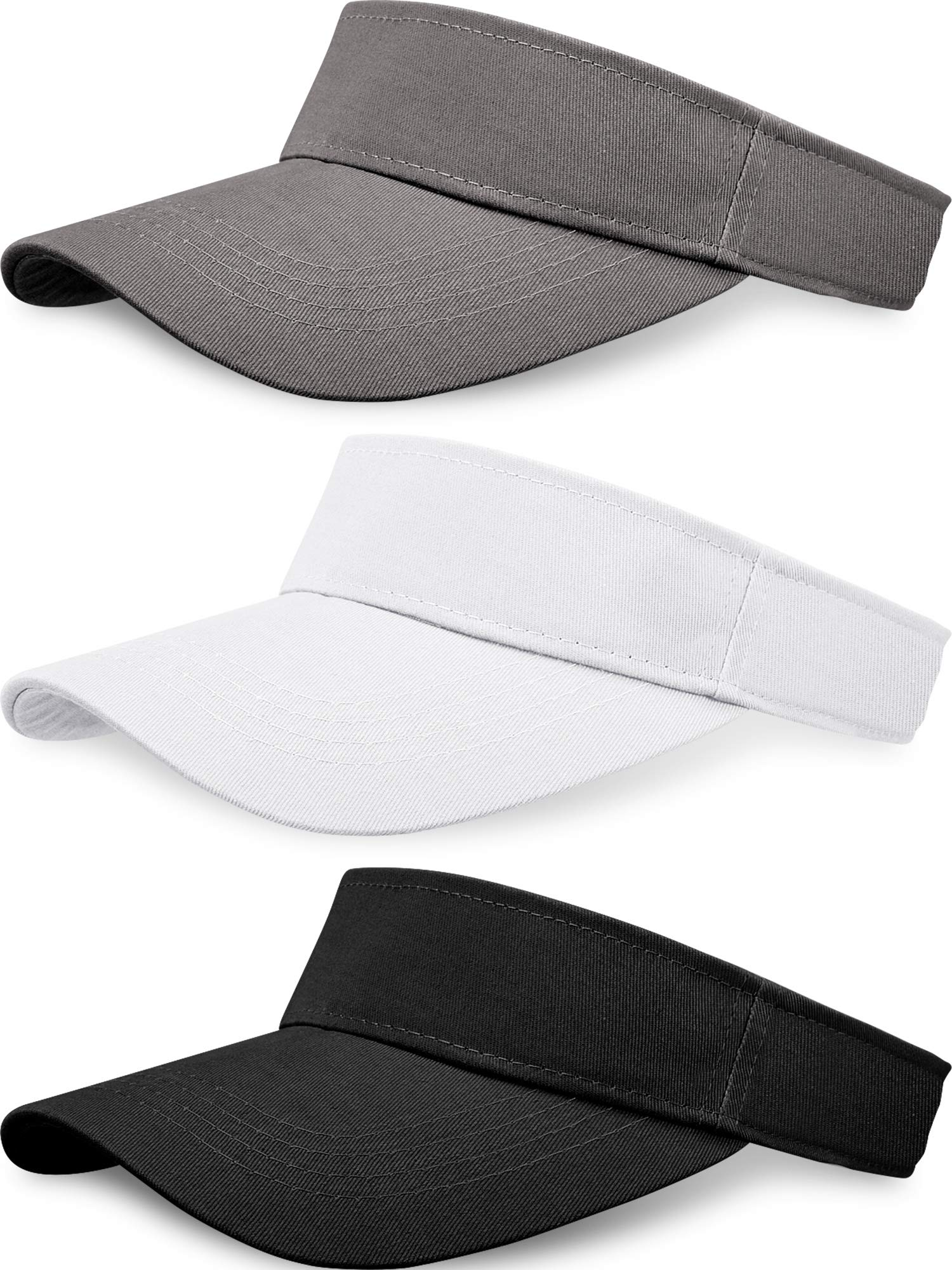 3 Pieces Sun Sports Visor Hats One Size Adjustable Cap for Women and Men (Black White Grey)