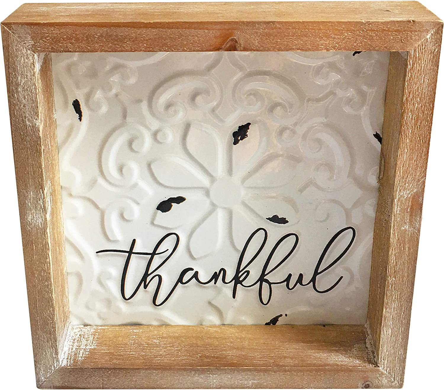 Wood Metal Thankful Sign, 8x8 inch Framed Rustic Embossed Enamel Home Table Decor Signs, Distressed Farmhouse Wooden Box Sign Gift for Shelf Mantel Living Dining Room Bedroom Kitchen Decoration