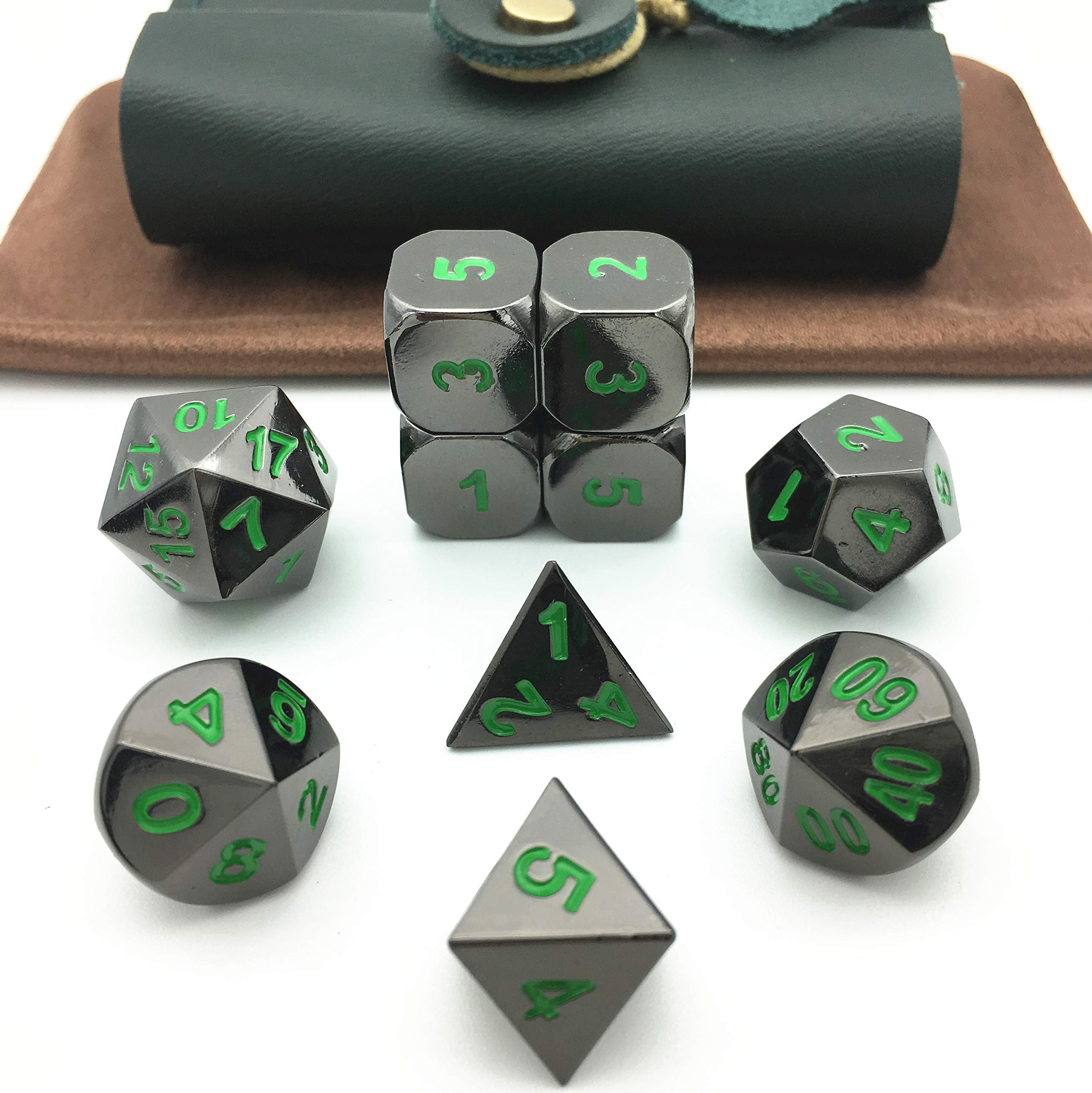 Truewon Solid Metal Polyhedral Dice for Dungeons and Dragons, Pathfinder and Other RPGs. (Set of 10+ Green PU Box / Bright Black & Green Numbers)