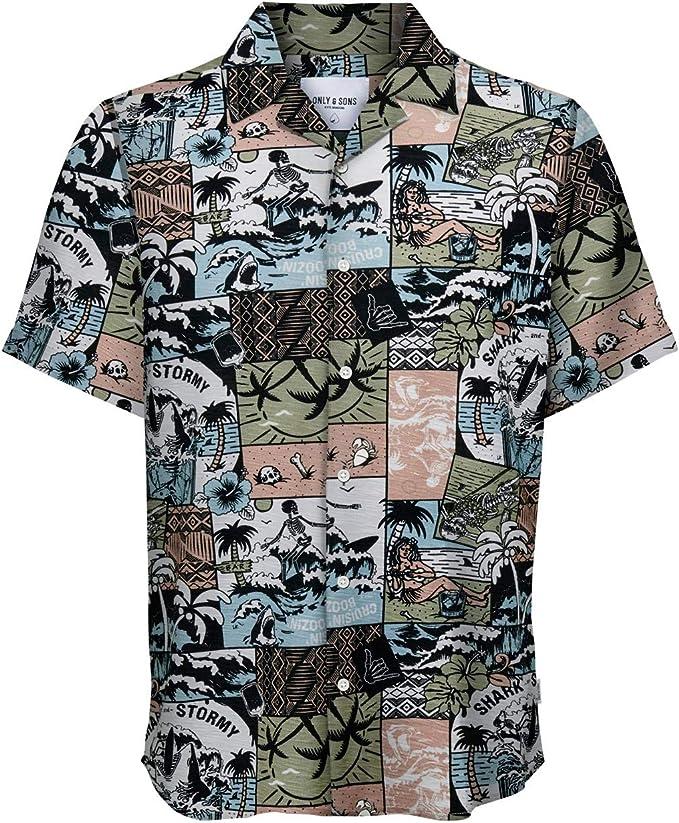 Only & Sons - Camisa de manga corta para hombre Alex SS Cartoon Viscose Shirt 22016580 rosa XS: Amazon.es: Ropa y accesorios