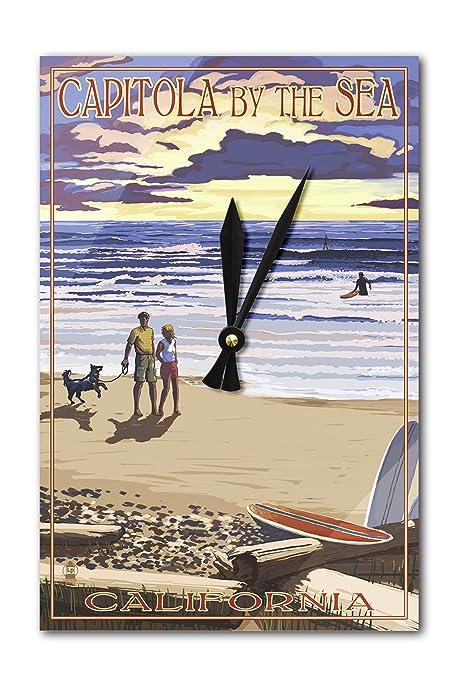Capitola, California – Capitola por el mar Sunset playa escena reloj de pared (acrílico