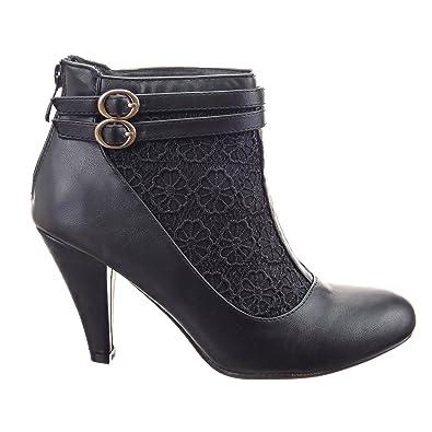 ca7ebaa57eea Sopily - Chaussure Mode Escarpin Stiletto Low boots Cheville femmes  dentelle multi-bride Talon aiguille
