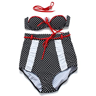 Toping Fine athletic-two-piece-swimsuits Women's Tankini Striped Vintage Swim Dress Plus Size
