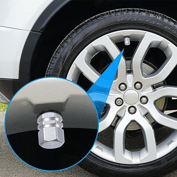 zeato 4-Pack neumático Tallo Válvula Tapas coche de aluminio tapas antipolvo válvula de neumático rueda Tallo Aire cubre, forma hexagonal (plata): ...