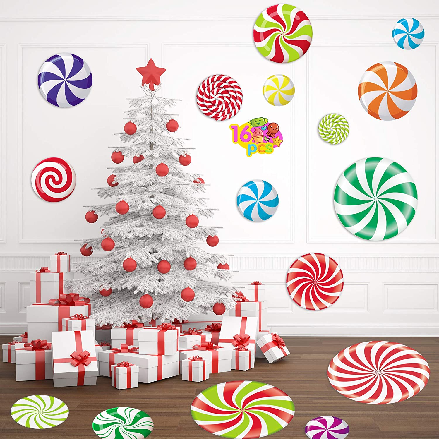 Joy Day 18 Pieces Peppermint Floor Decals Stickers for Christmas Candy Party Decoration Supplies Xmas Candy Land Party Decor Decals for Floors, Windows, Counters and Walls