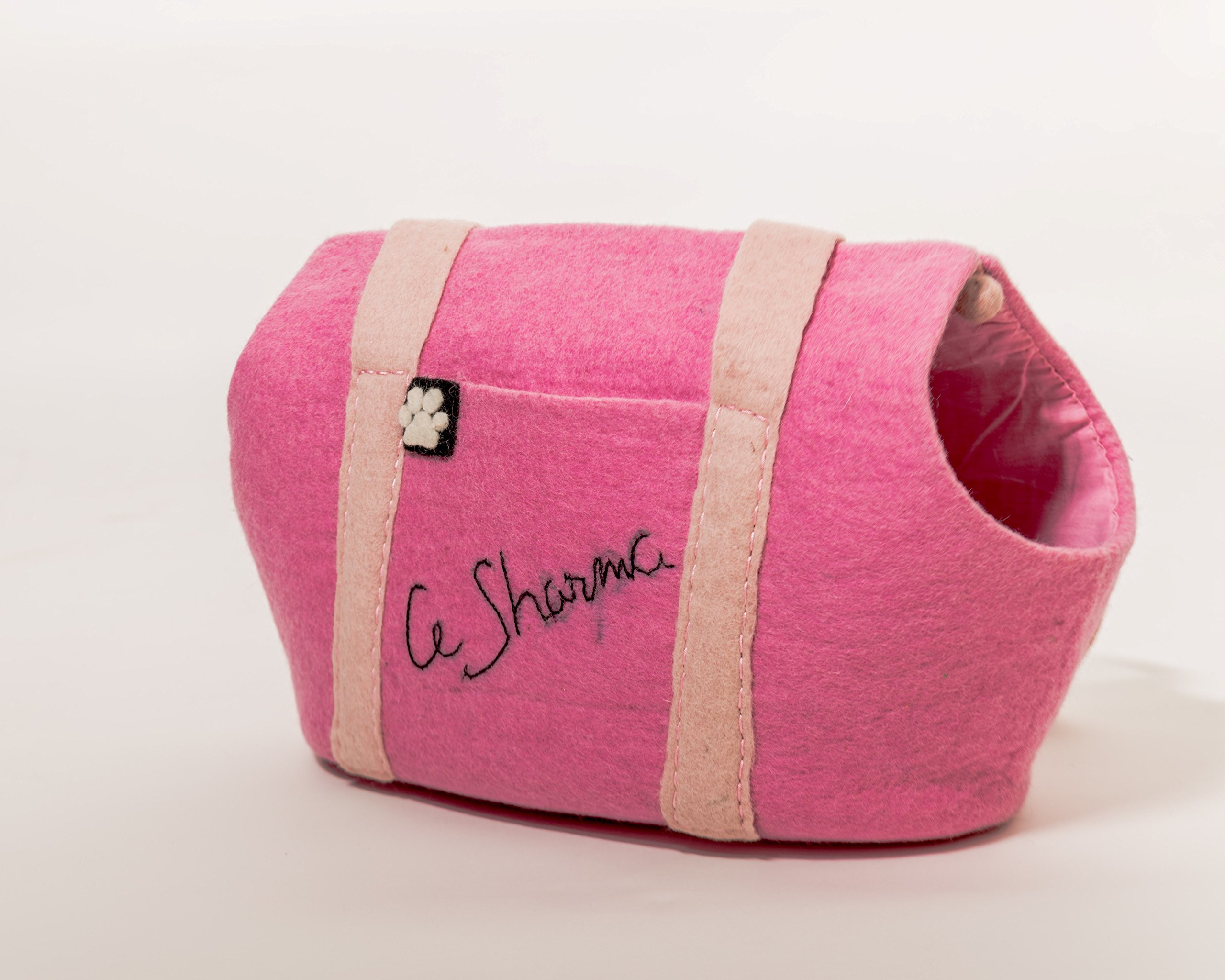 Le Sharma Felt-Dog Carrier, Warm Luxurious 100% Wool, Handmade, Ideal for Small Dogs (Pink)