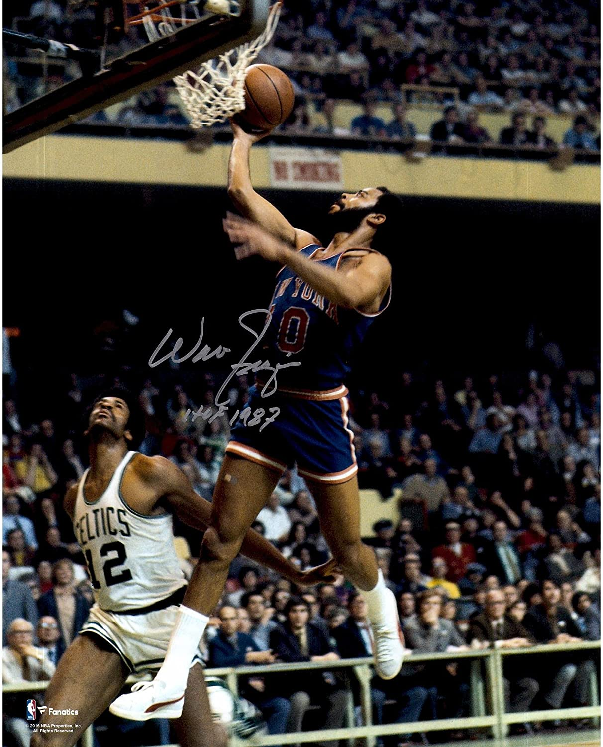 Walt Frazier New York Knicks Autographed 16' x 20' Blue Lay-Up Photograph with'HOF 87' Inscription - Fanatics Authentic Certified