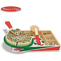 Melissa & Doug Alimentos de madera para fiesta de pizza, juego de  imitación de hacer pizza, pestañas autoadhesivas, más de 54 piezas, 4.572 cm alto × 22.86 cm ancho × 133.782 cm largo