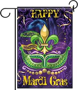 Mardi Gras Decorations Mardi Gras Garden House Flag Fabric Double Sided, Mardi Gras Party Outdoor Decorative Classic Design House Flag Banner for Yard Lawn, 18.5 x 12.6 Inch