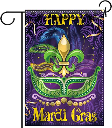 Mardi Gras Party Outdoor Decorative Classic Design House Flag Banner for Yard Lawn 18.5 x 12.6 Inch Mardi Gras Decorations Mardi Gras Garden House Flag Fabric Double Sided