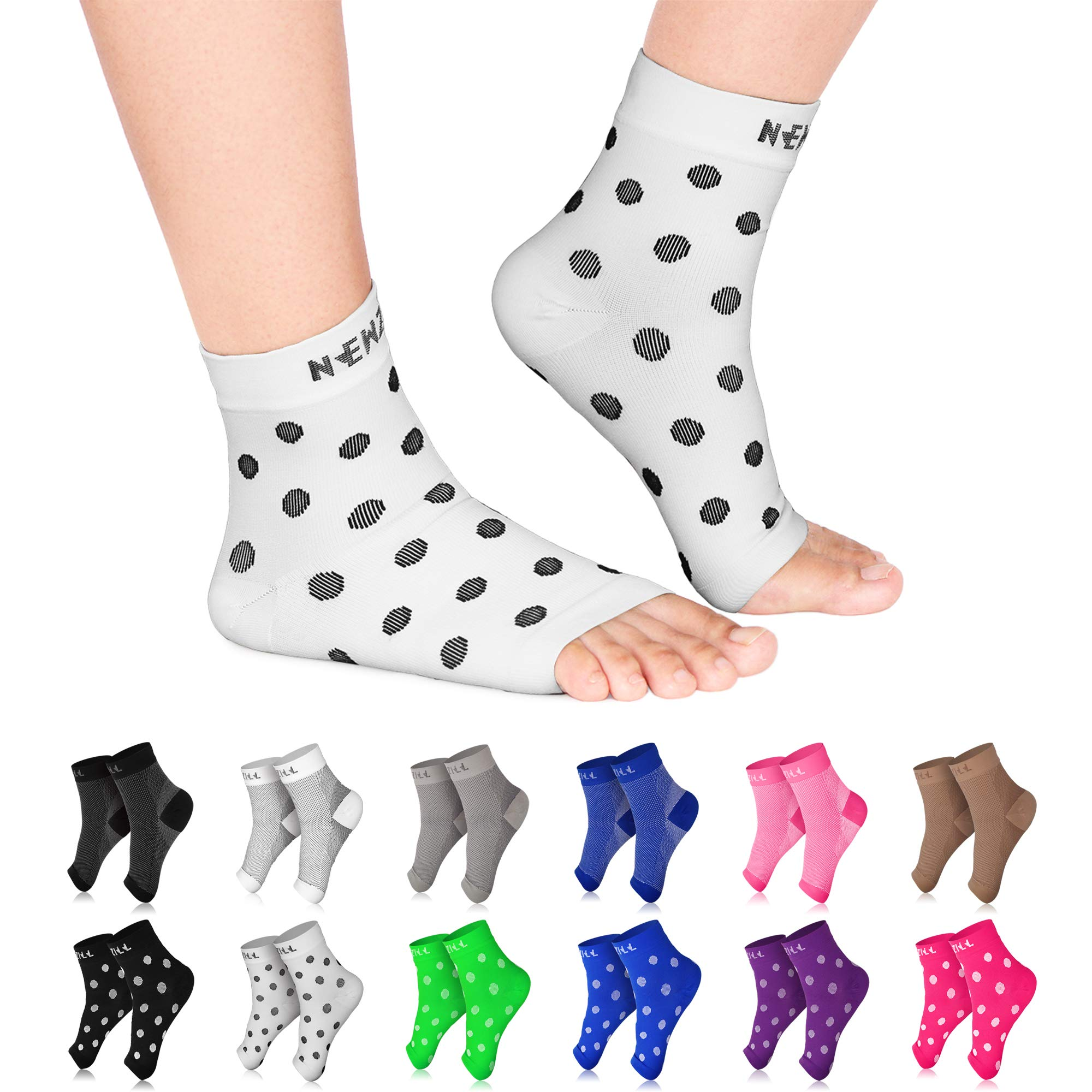 NEWZILL Plantar Fasciitis Socks with Arch Support, Best 24/7 Foot Care Compression Sleeve, Eases Swelling & Heel Spurs, Ankle Brace Support, Increases Circulation (S/M, White w Black Dots)