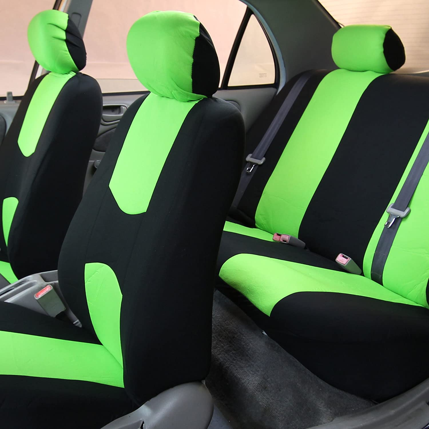 Full Set F14403 Flat Cloth Seat Covers FH Group FB050115 Universal Fit for Cars Trucks /& SUVs Green