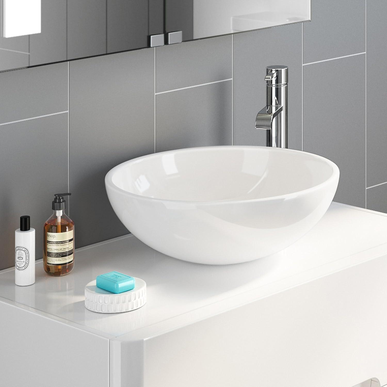 iBathUK Modern Round Ceramic Cloakroom Basin Bowl Countertop Bathroom Sink CA1001