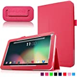 "Infiland Folio PU Cuero Funda Cascara Delgada con Soporte para 10,1 Pulgadas Dragon Touch A1X Quad Core Tablet PC,JYJ 10"" Pulgadas Tablet PC, AcePad SuperPad XT2 10"" Pulgadas Tablet PC, Tabexpress (10 Pulgadas) Tablet-PC, Polatab Elite Q10.1"", iStyle 2014 New 10.1"" Pulgadas(Consulte más modelos de tablet compatibles en la Descripción)(Rojo)"