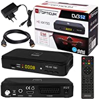 SATELLITEN SAT RECEIVER ✨ HB DIGITAL DVB-S/S2 SET: Hochwertiger DVB-S/S2 Receiver + HDMI Kabel mit Ethernet Funktion und vergoldeten Anschlüssen (HD Ready, HDTV, HDMI, SCART, USB 2.0, Koaxial Ausgang, Opticum AX150 )
