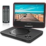 """WONNIE 9,5"""" Lecteur DVD Portable avec Un écran Rotatif 270°, Carte SD et Prise USB avec Charge directe Formats/RMVB / AVI / MP3 / JPEG, Parfait pour Enfants (Rouge)"""