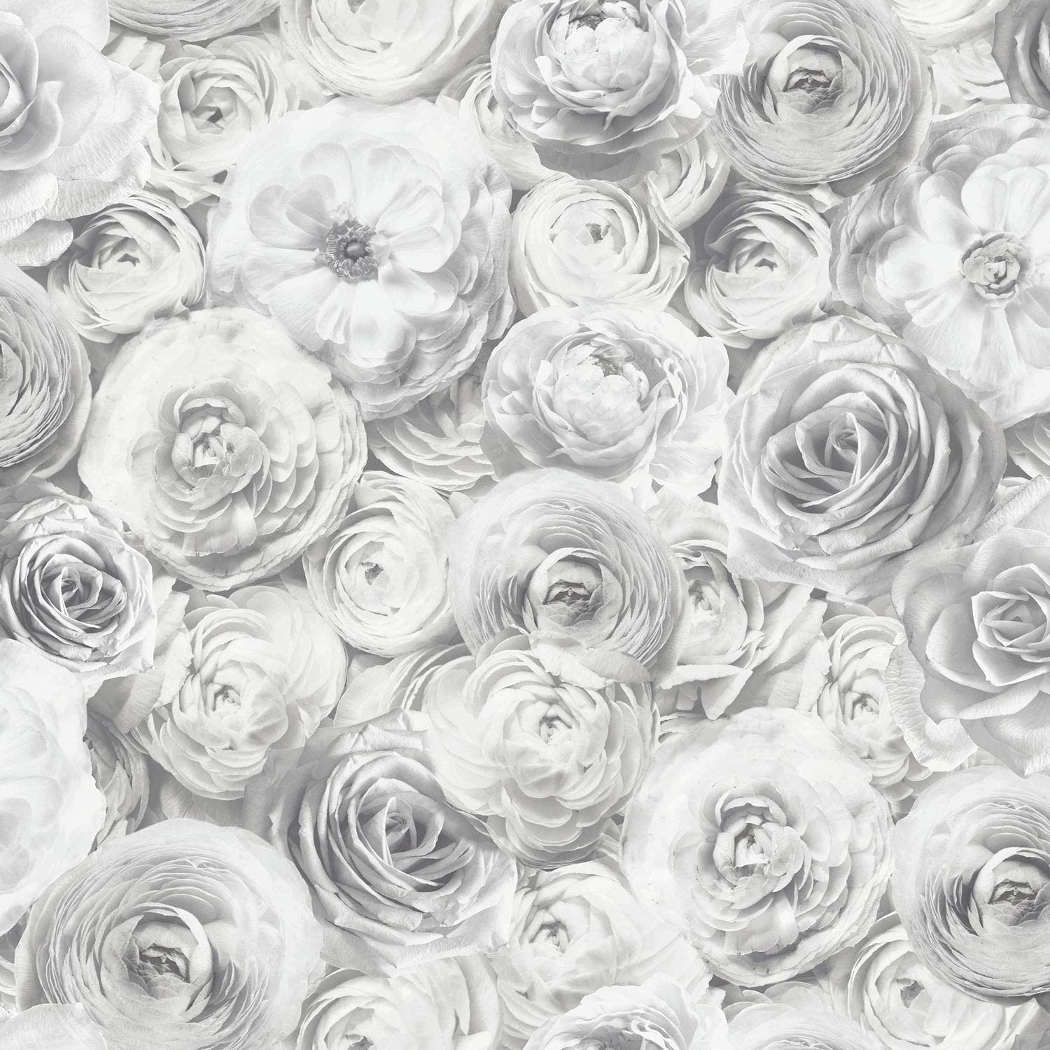 Arthouse Wild Rose Floral Wallpaper Silver Grey Petals Flowers 3d