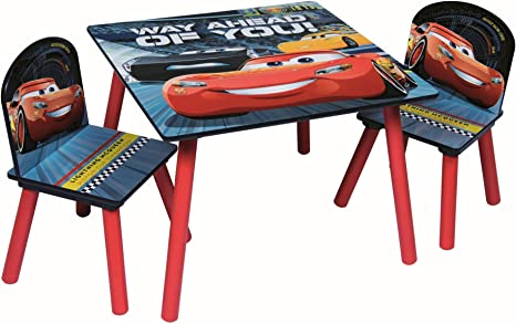 Juego de mesa y sillas de madera para niños. Muebles de interior para cuarto de juegos Disney Cars: Amazon.es: Bebé