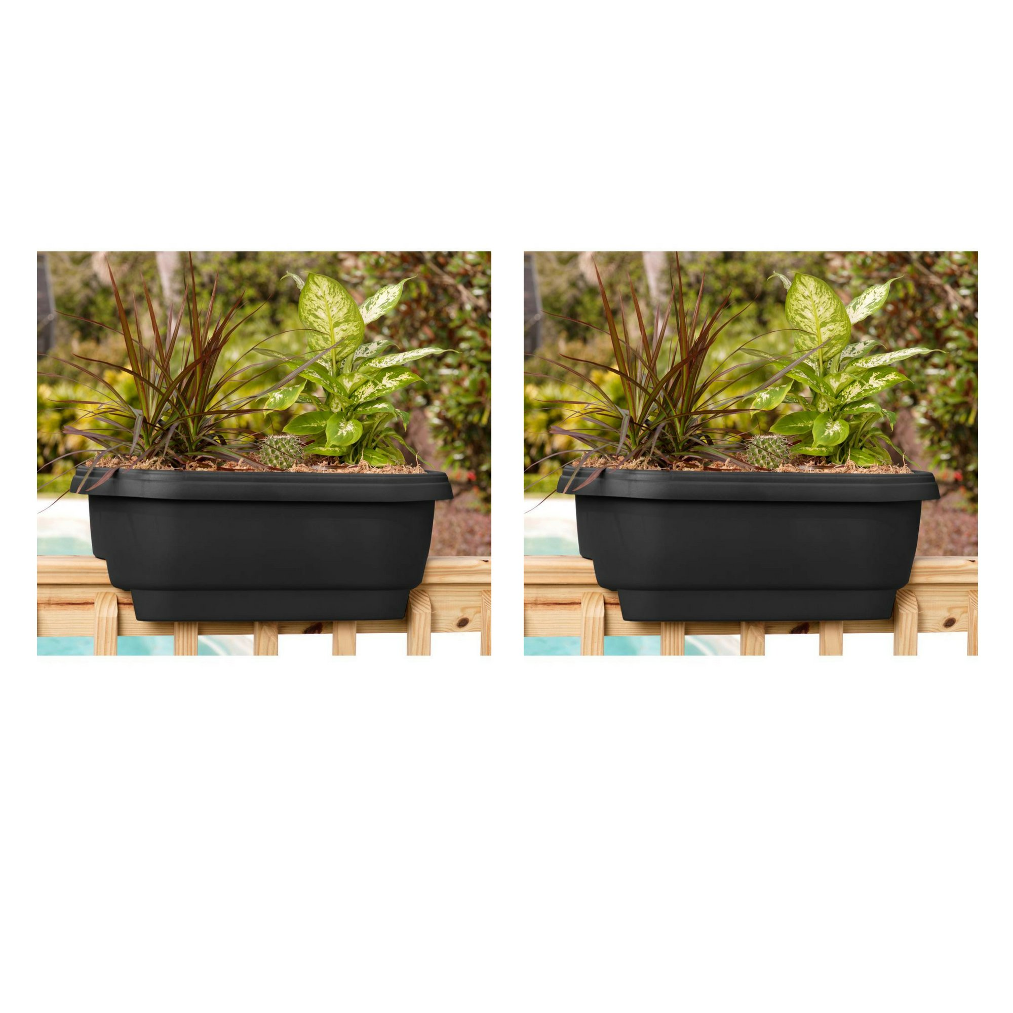 Bloem Deck 24 in. Balcony Rail Planter in Black - 2 Pack