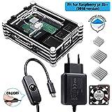 Smraza Raspberry Pi 3 b + Gehäuse mit 1.5m Kabel Netzteil 5V 2.5A mit Schalter Ein/aus + Lüfter + 3 x Kühlkörper für Raspberry Pi 3 Pi 2 Modell b+ b Case(Ohne Raspberry Pi)