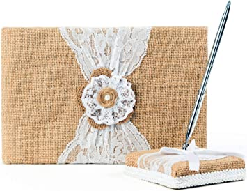 Fall Guest Book /& Pen Set Rustic Burlap Leaves Leaf Guestbook Pen Wedding, Shower, Birthday, Anniversary, Etc Choice of colors-