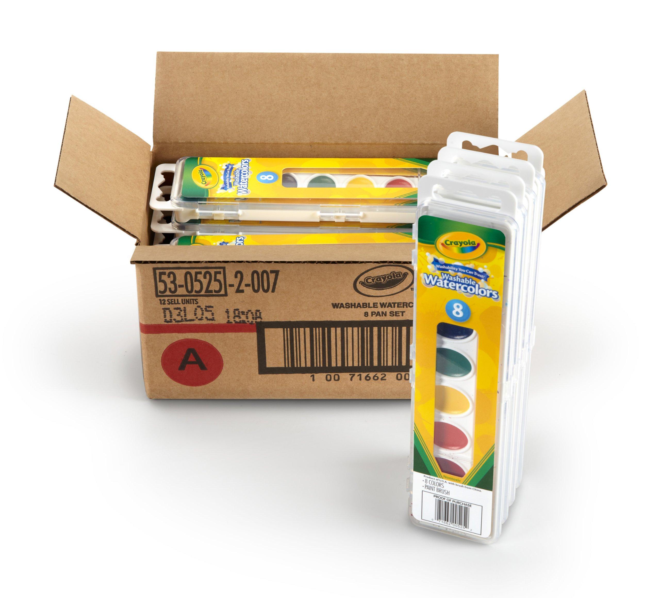 Crayola 53-0525-1 8 Pan Set Washable Watercolors, 12 Pack by Crayola