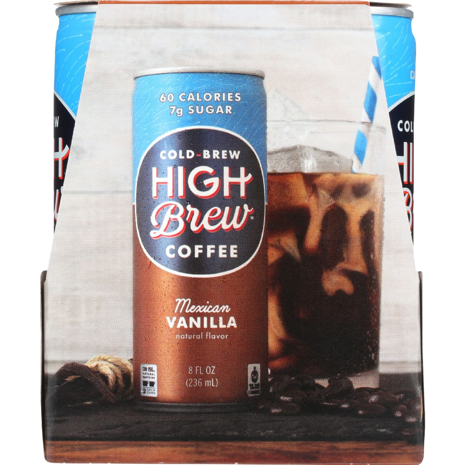 High Brew Coffee Coffee - Ready to Drink - Mexican Vanilla - 4/8 oz - case of 6 - Gluten Free - Dairy Free - by High Brew Coffee