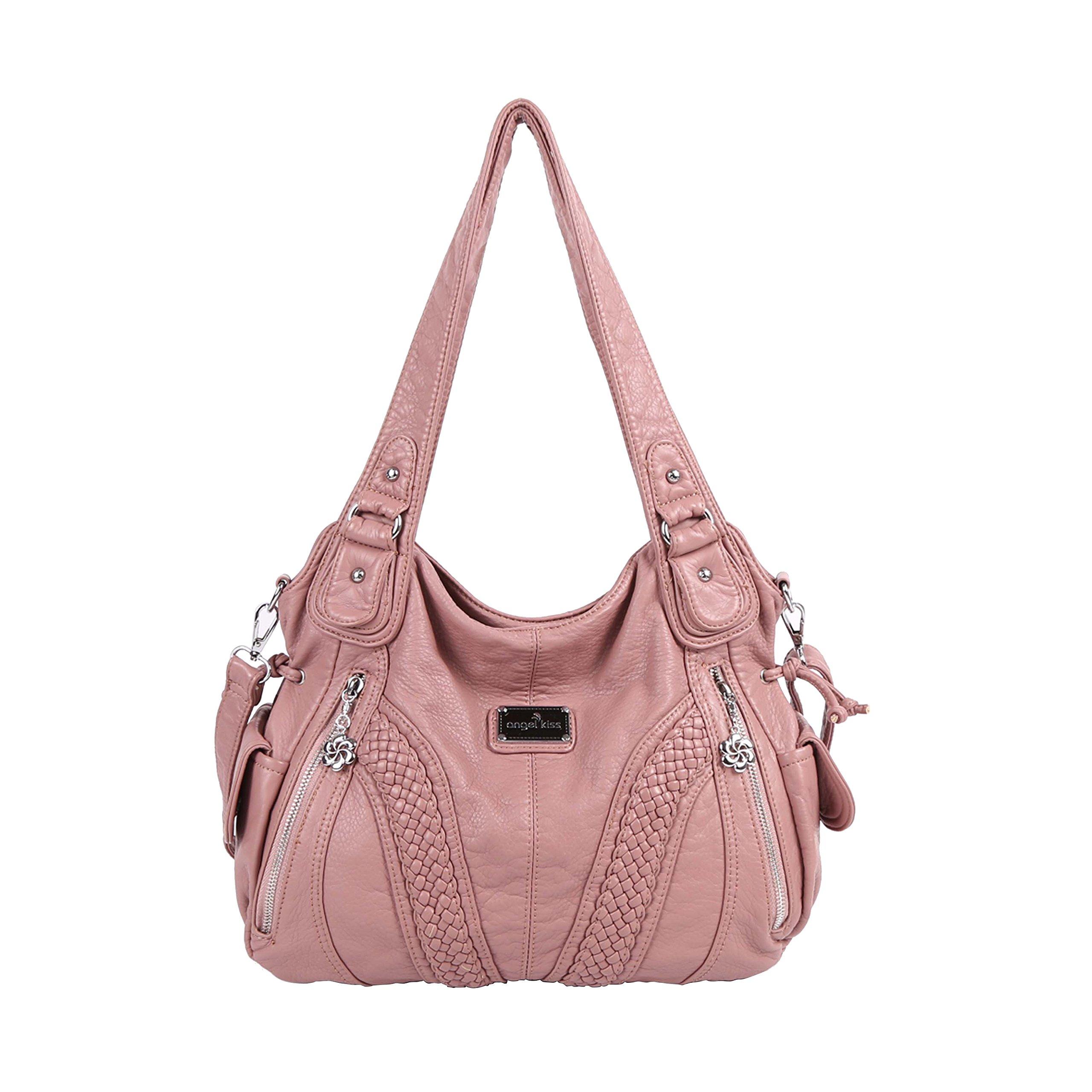 Angelkiss Women Top Handle Satchel Handbags Shoulder Bag Messenger Tote Washed Leather Purses Bag (Pink)
