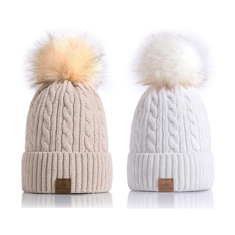 PAGE ONE Women Winter Pom Pom Beanie Hats Warm Fleece Lined,Chunky Trendy Cute Chenille Knit Twist Cap/Beige+White