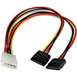 StarTech.com 12in LP4 to 2x SATA Power Y Cable Adapter - Molex to to Dual SATA Power Adapter Splitter