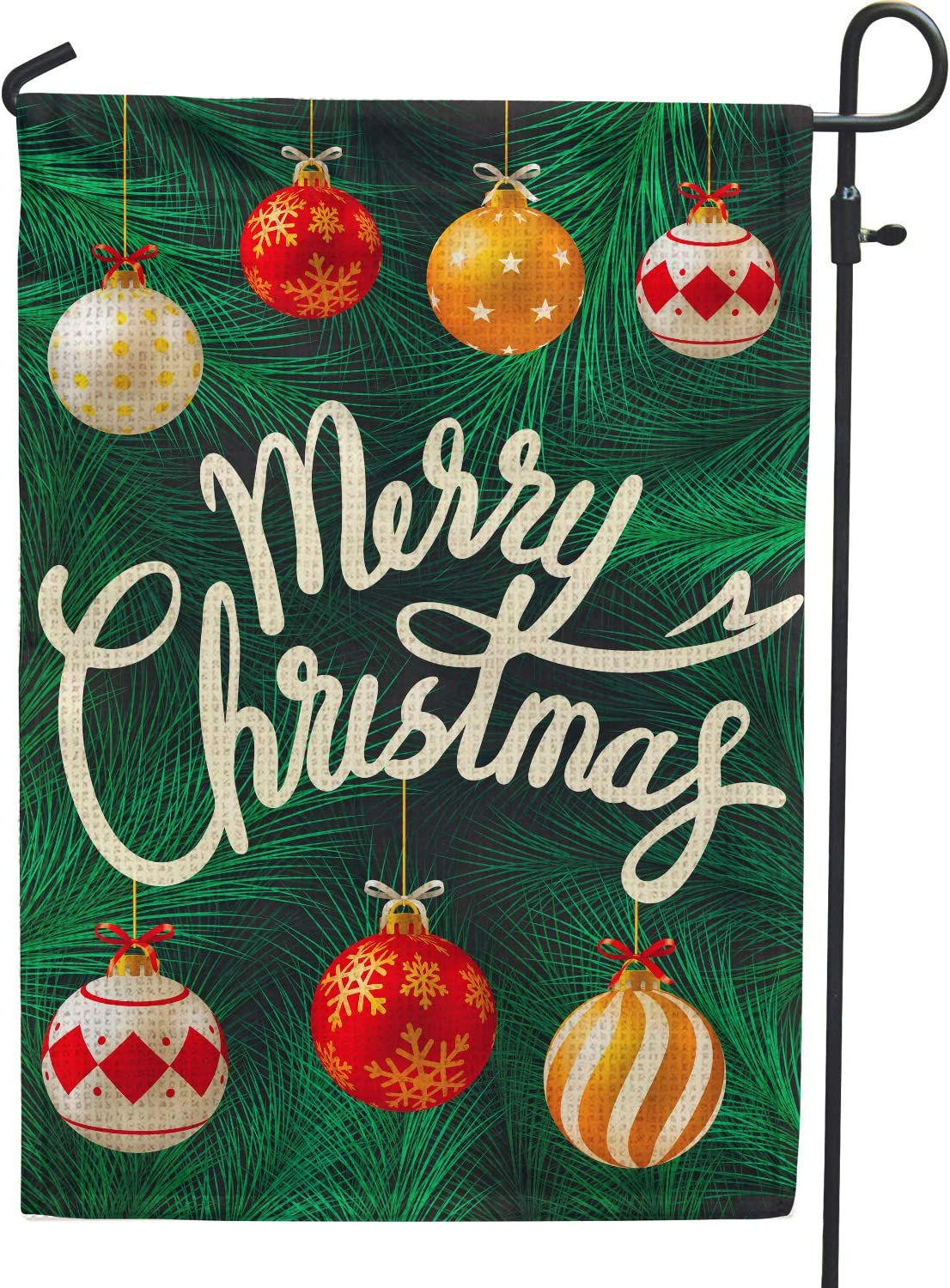 Hollyhorse Merry Christmas Garden Flags for Outside Decoration - 12x18 Double Sided Hanging Ornaments Burlap Flag Outside Decoration for Yard Outdoor Decor
