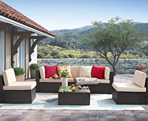Homall 6 Pieces Patio Outdoor Furniture Sets, Low Back All-Weather Rattan Sectional Sofa Manual Weaving Wicker Conversation Set with Coffee Table and Washable Couch Cushions (Beige)