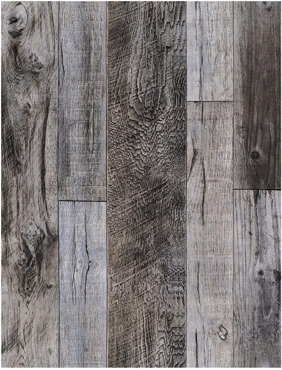 """HaokHome 92048-1 Peel and Stick Wood Plank Wallpaper Shiplap 17.7""""x 9.8ft Grey Vinyl Self Adhesive Contact Paper Decorative"""